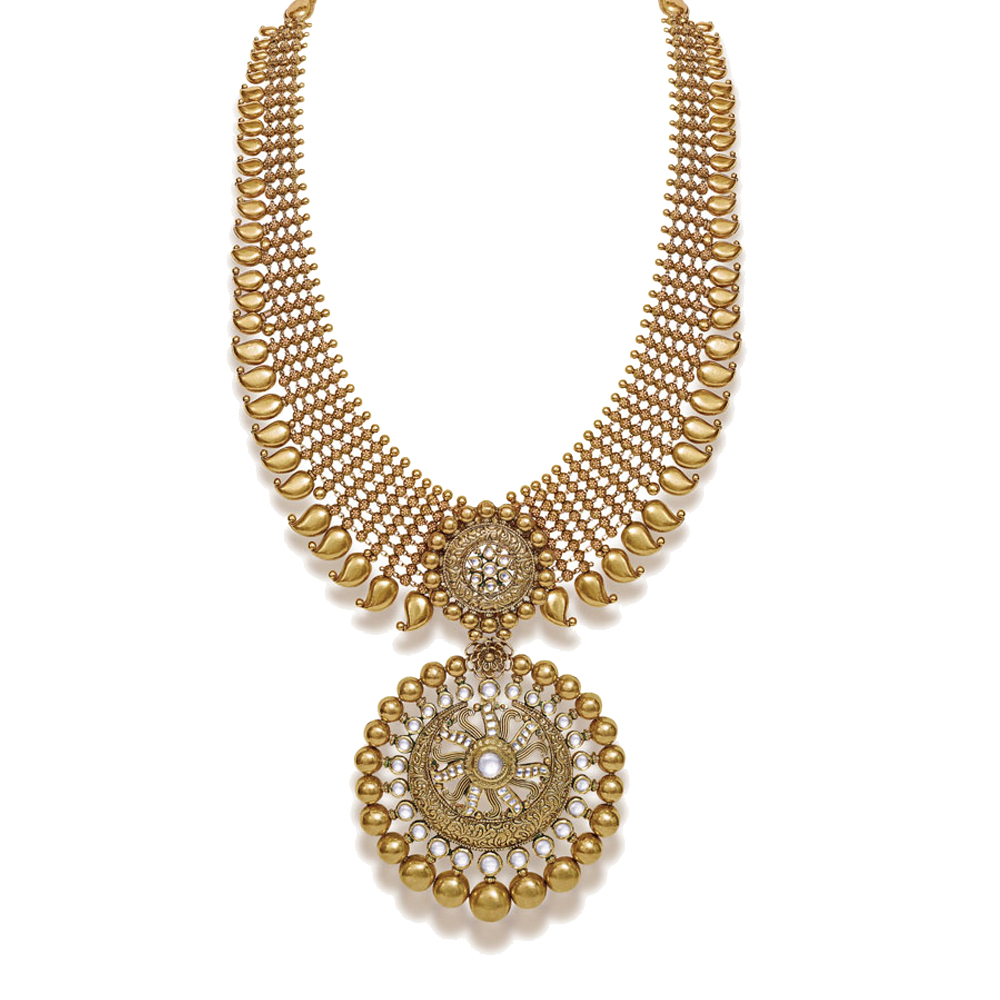 22 kt Long Gold Necklace with Kundan and Paisley - Medallion sets | Azva