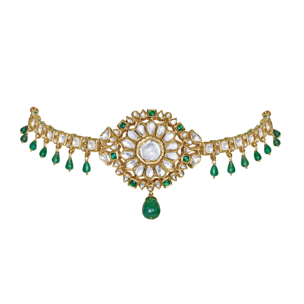 Polki Choker with Vibrant Green Beads - Choker | Azva