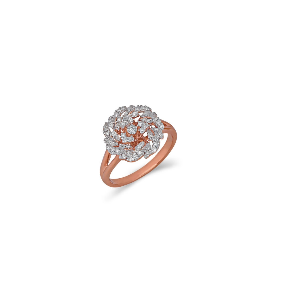 The Rose dainty ring with diamond studded petals | Azva