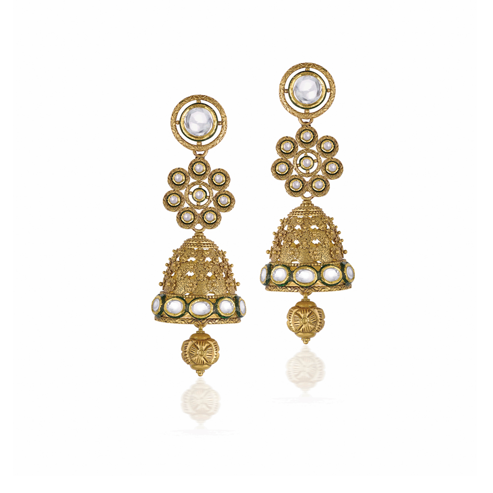 22 Kt Gold Earrings With Dainty Floral Lattice - Earrings | Azva