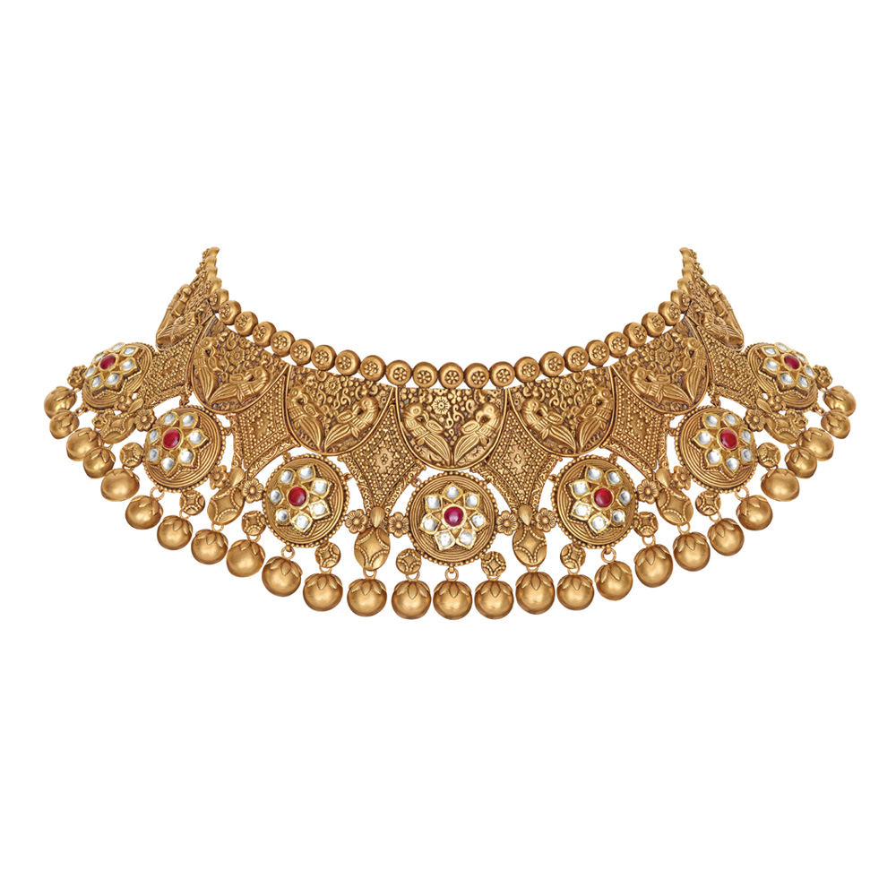 22 kt Gold Necklace with Peacocks - Necklace | Azva