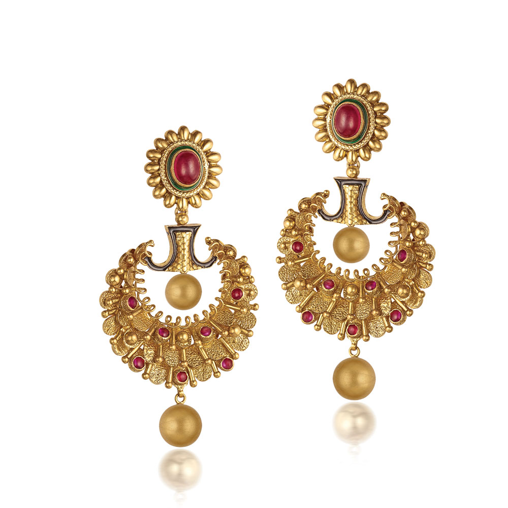 22 Kt Gold Earrings With Textured Scales - Earrings | Azva