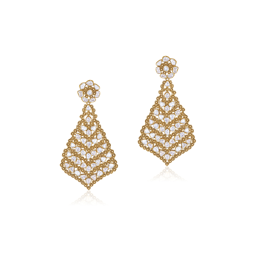 Polki Earrings With Intricate Arch - Earrings | Azva