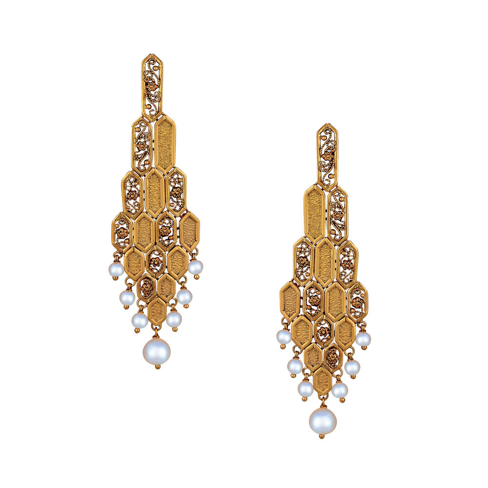 22 Kt Gold Earrings With Filigree Hexagons - Earrings | Azva