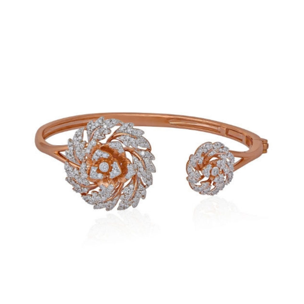 The Rose cuff with two diamond studded roses | Azva