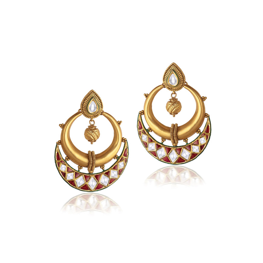 22 kt Gold Earrings with a Kundan Set Crescent - Earrings | Azva