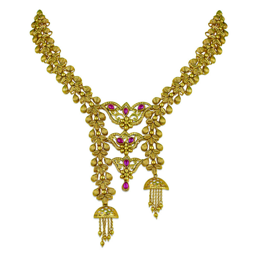 22 kt Gold Necklace of Stacked Cones - Necklace | Azva