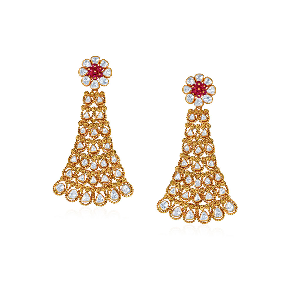Polki Earrings With Floral Stud - Earrings | Azva