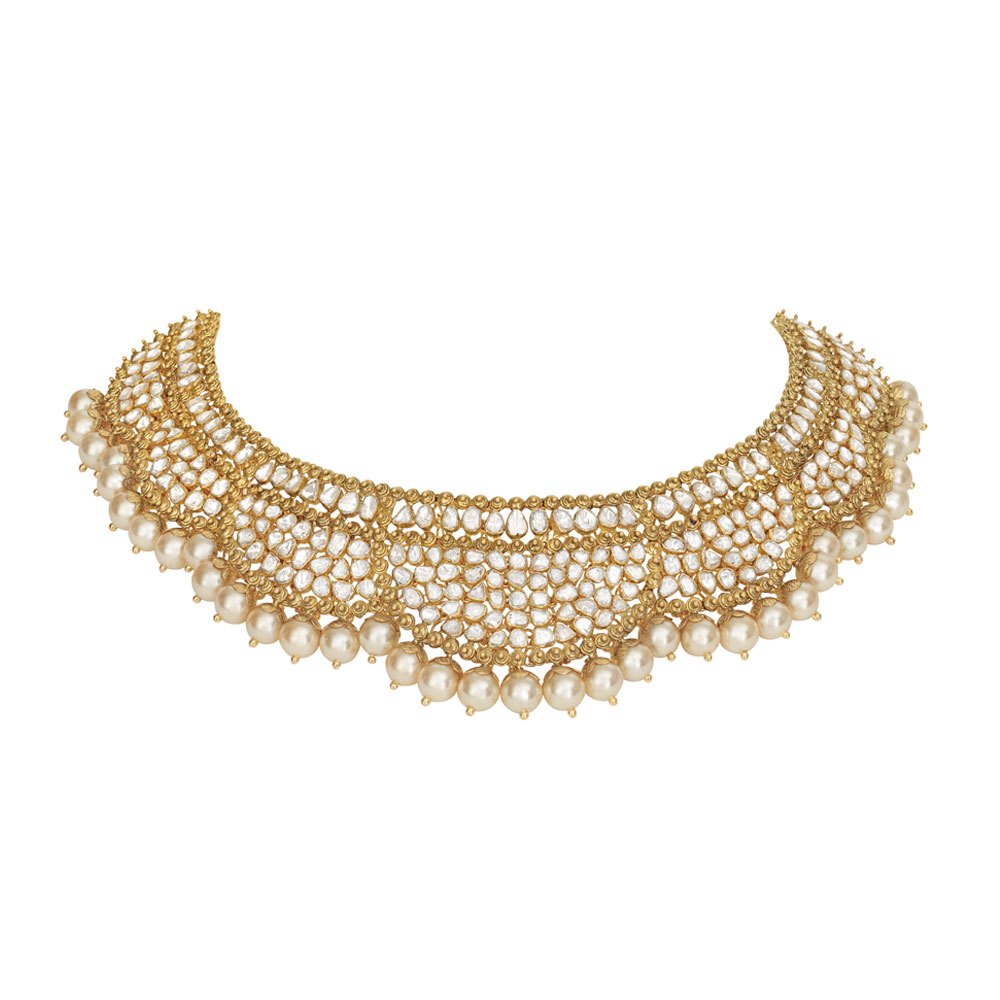 Polki Necklace with Pearls - Necklace | Azva