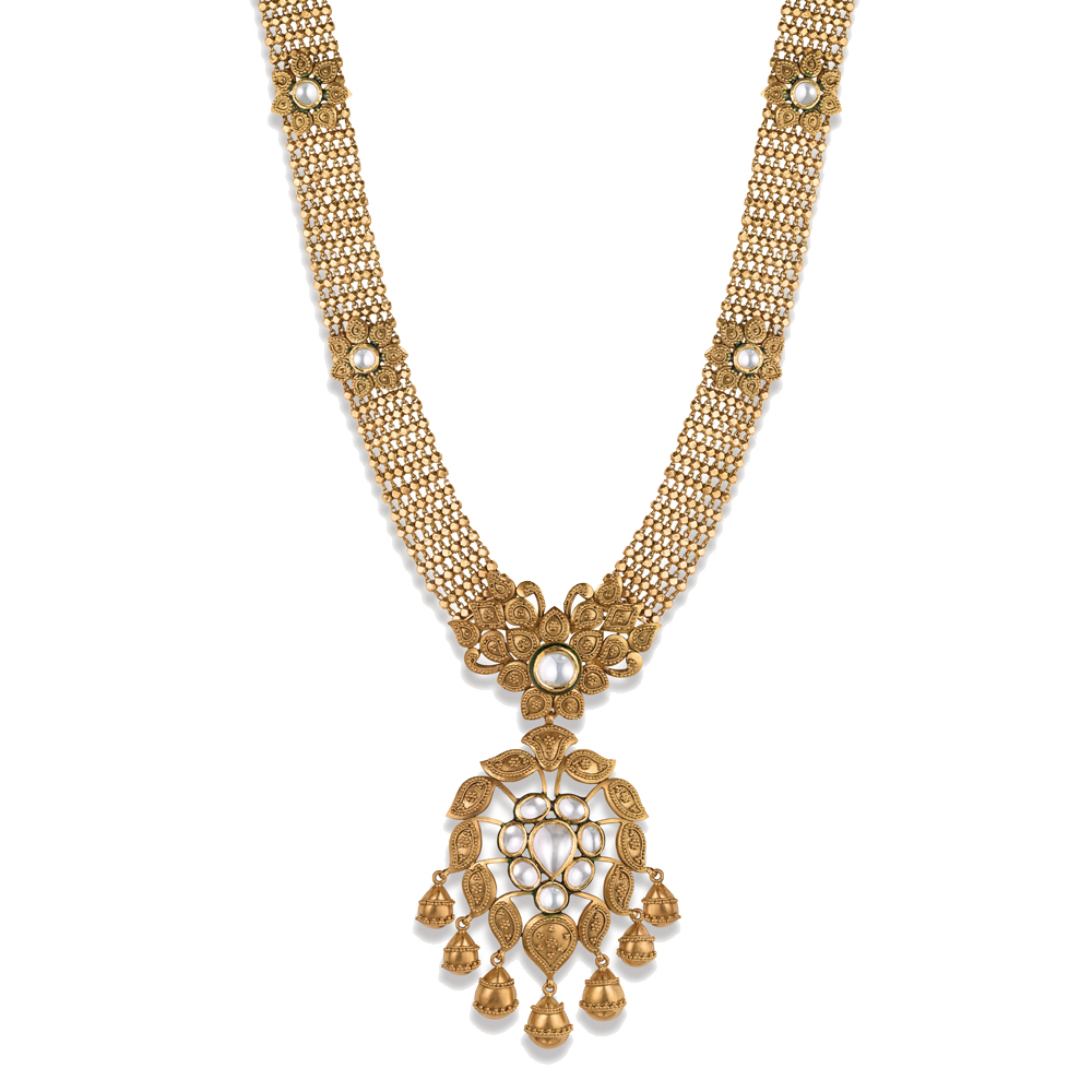 22 kt Gold Necklace with Kundan Medallion - Necklace | Azva