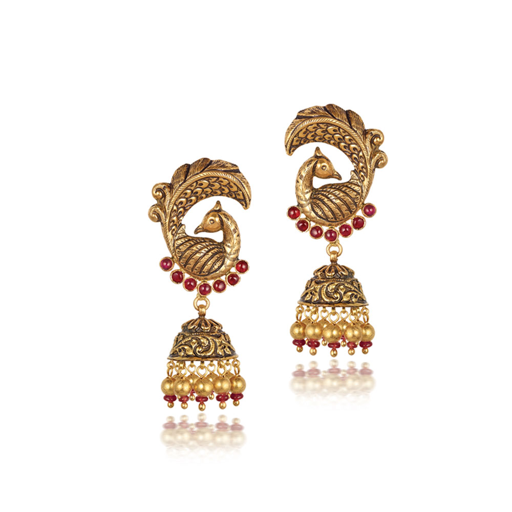 22 Kt Gold Eacock Earrings With Pink Stones - Earrings | Azva