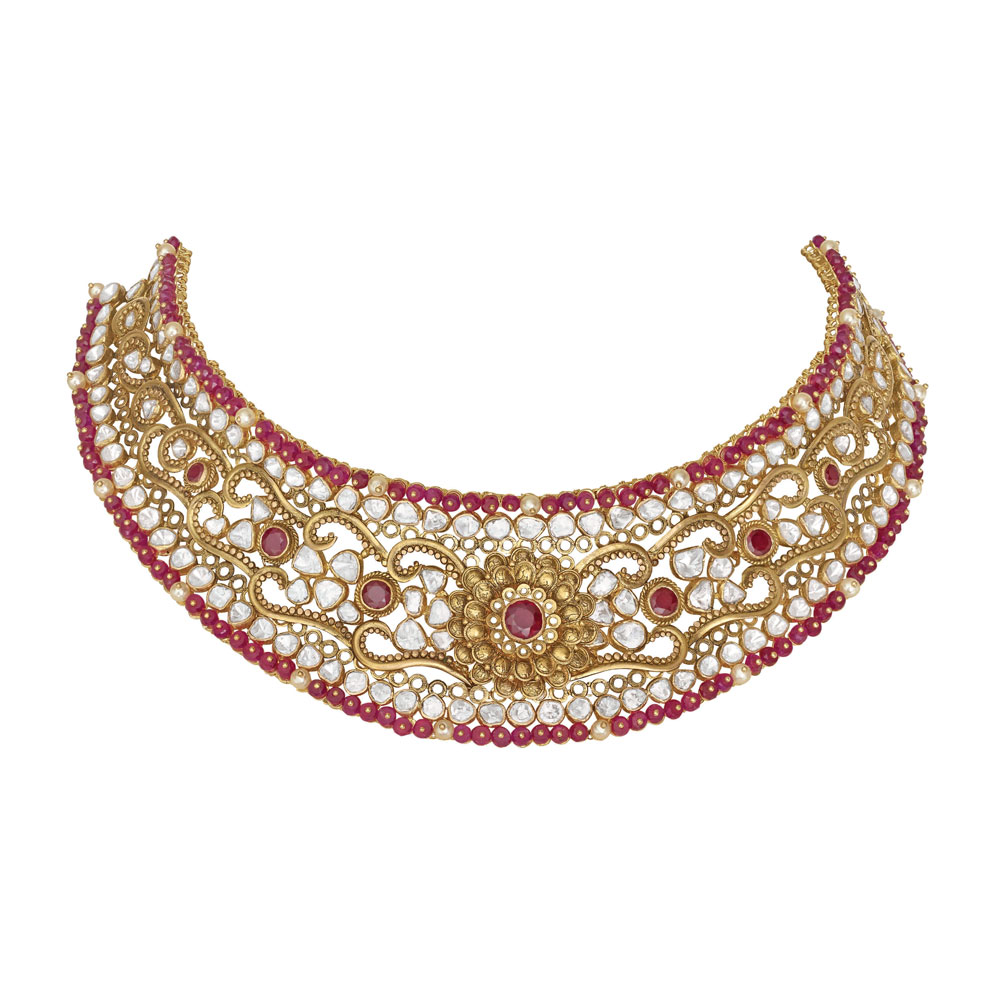 Polki Choker with Scrolls of Vibrant Beads - Choker | Azva
