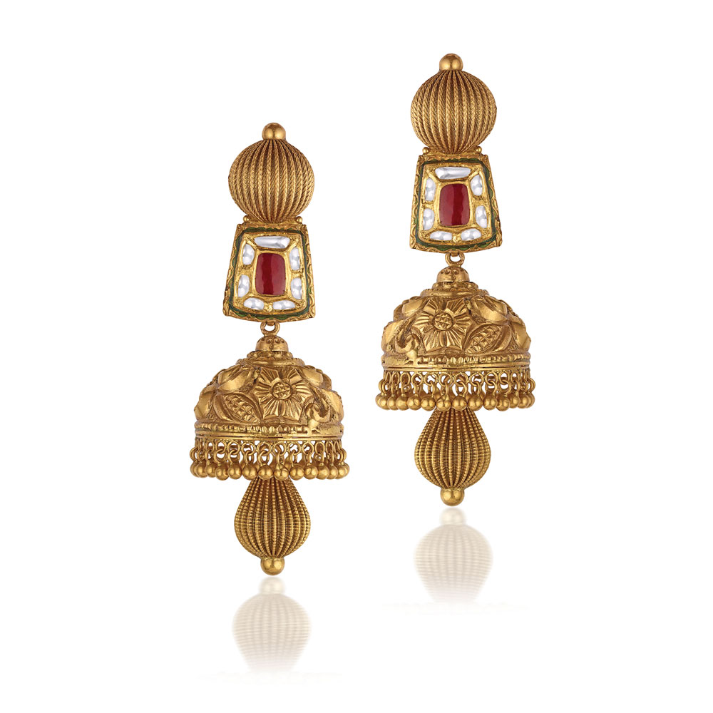 22 Kt Gold Geometric Nakashi Earrings - Earrings | Azva