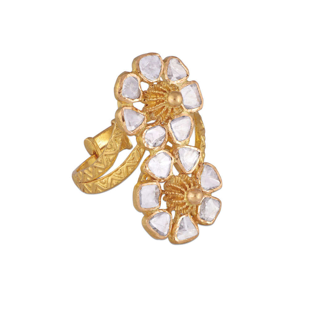 Polki Stacked Floral Ring - Rings | Azva