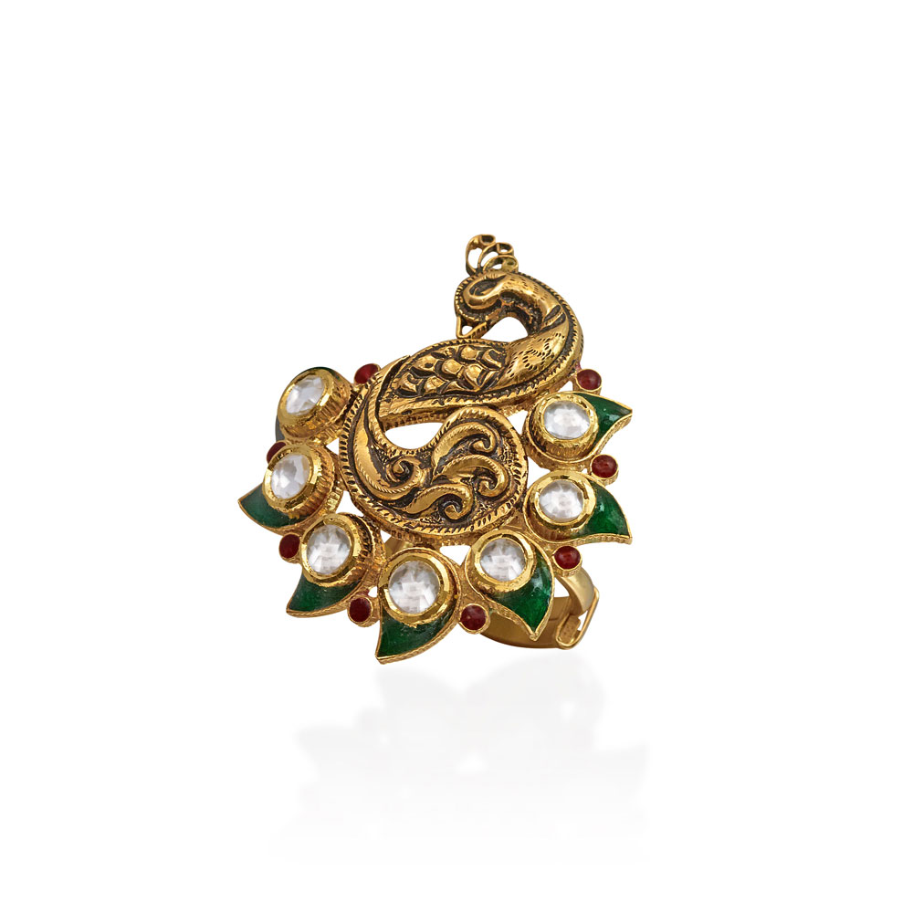 22 Kt Gold Peacock Ring - Rings | Azva
