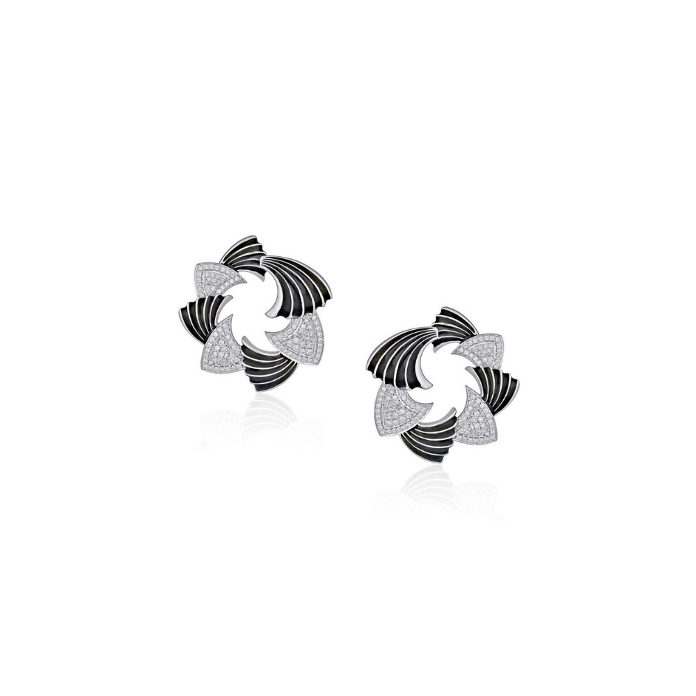 Harmony white gold and enamel earrings with diamonds | Azva