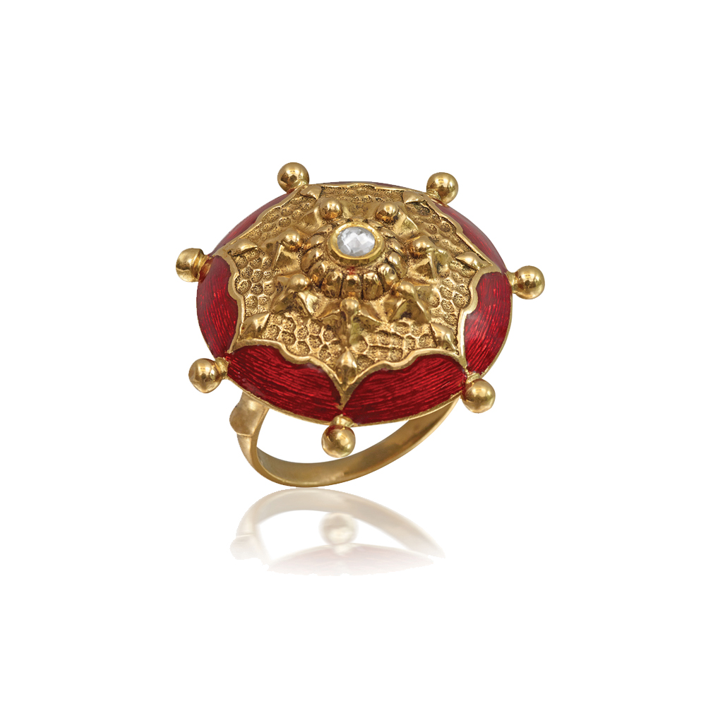 22 Kt Gold Ring With Vibrant Red Enamel - Rings | azva