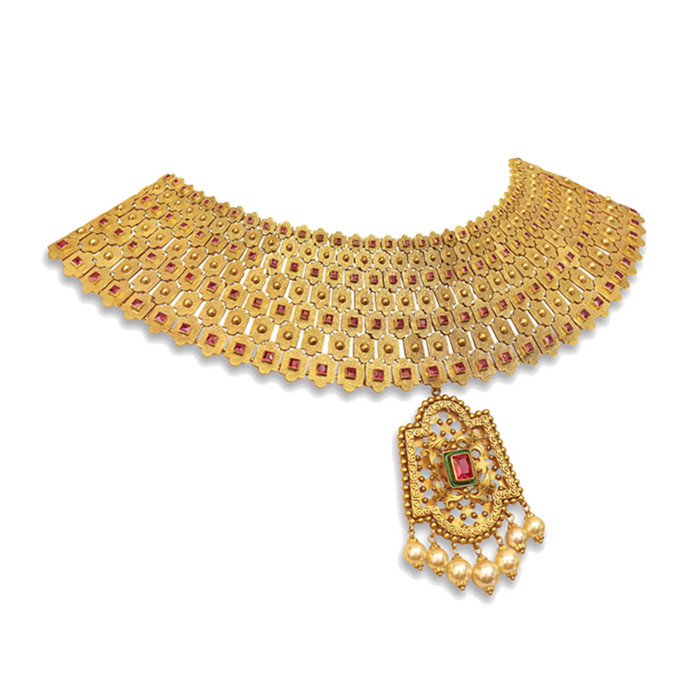22 kt Gold Choker with a Statement Cutwork Pendant - Choker | Azva