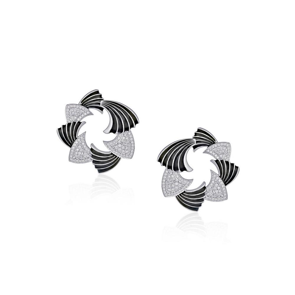 18 Kt White Gold Two-Tone Enamel Earrings with Diamonds - Enamel | Azva