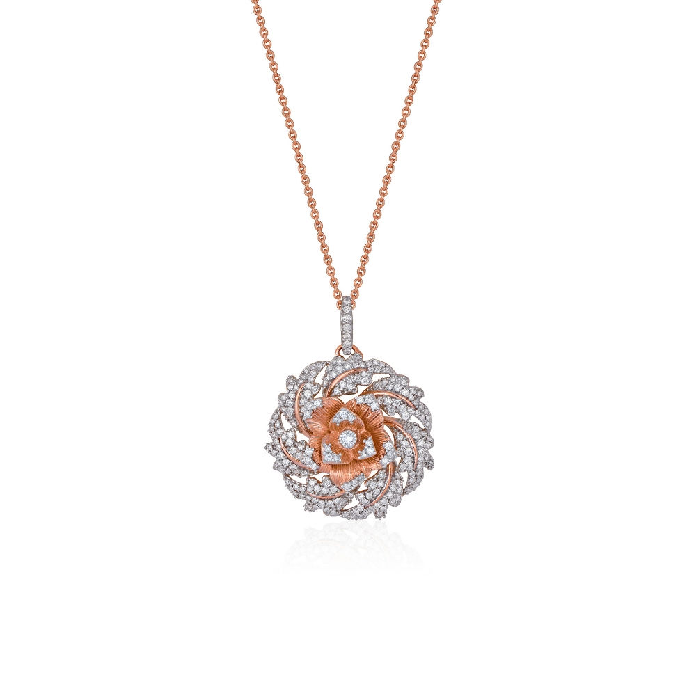 The Rose pendant with blooming diamond petals | Azva