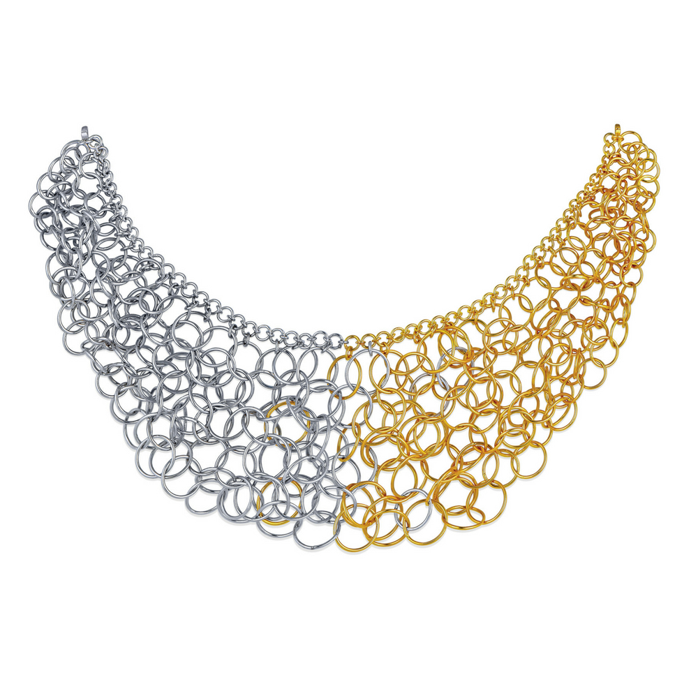 Entwined Collar Necklace of Interlinked Gold Circles - Entwined | Azva
