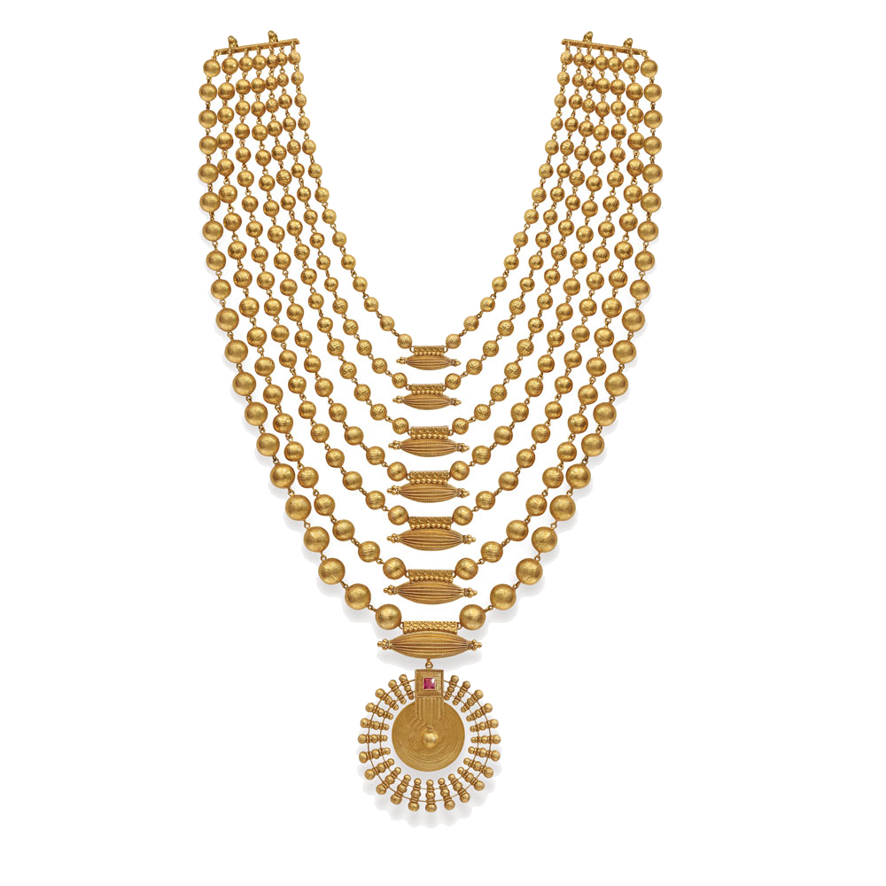 22 Kt Gold Layred Necklace with Barrel Beads -  Seven rows haar | Azva