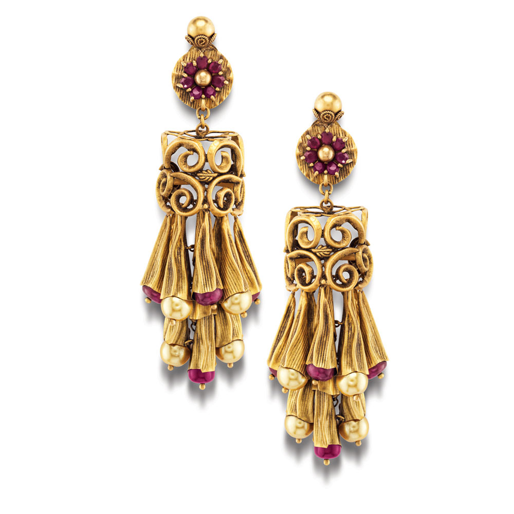 22 Kt Gold Earrings With Intricate Floral Flutes - Earrings | Azva