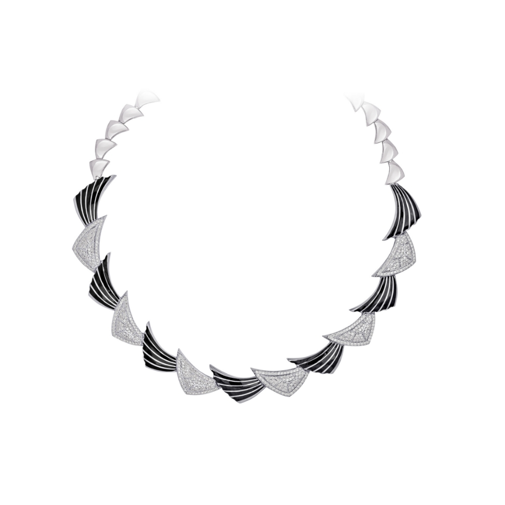 Harmony white gold enamel necklace with diamonds | Azva