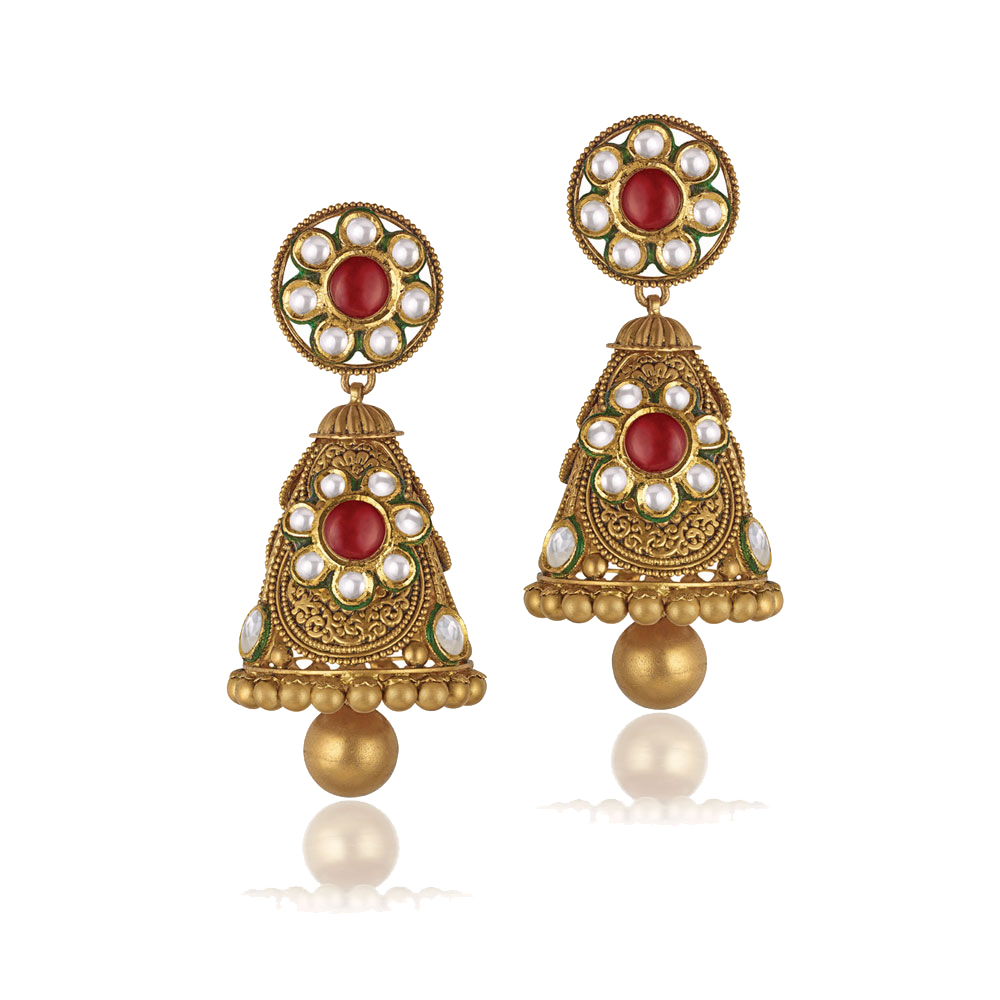22 Kt Gold Earrings With Vibrant Kundan Flowers - Earrings | Azva