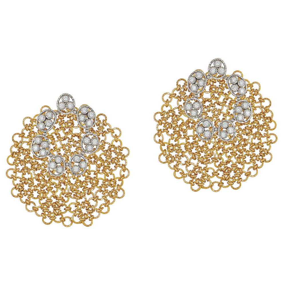 Entwined Layered Circle Earrings with Diamonds - Entwined | Azva
