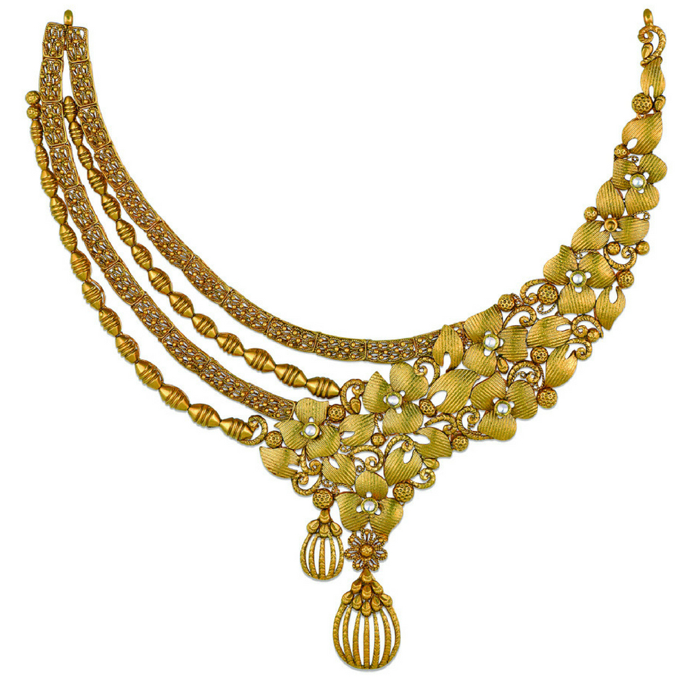 22 kt Asymmetric Floral Gold Necklace - Necklace | Azva