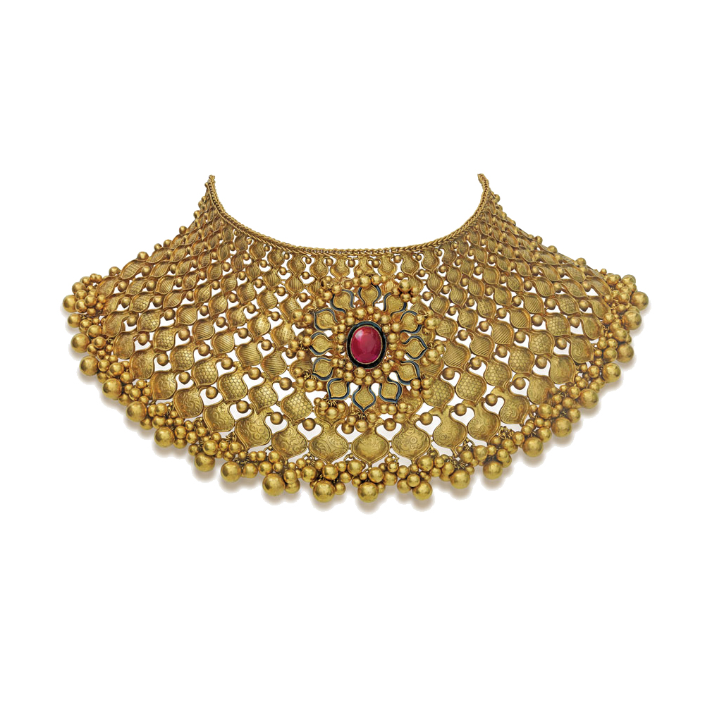 22 kt Gold Showstopper with a Floral Medallion - Choker | Azva
