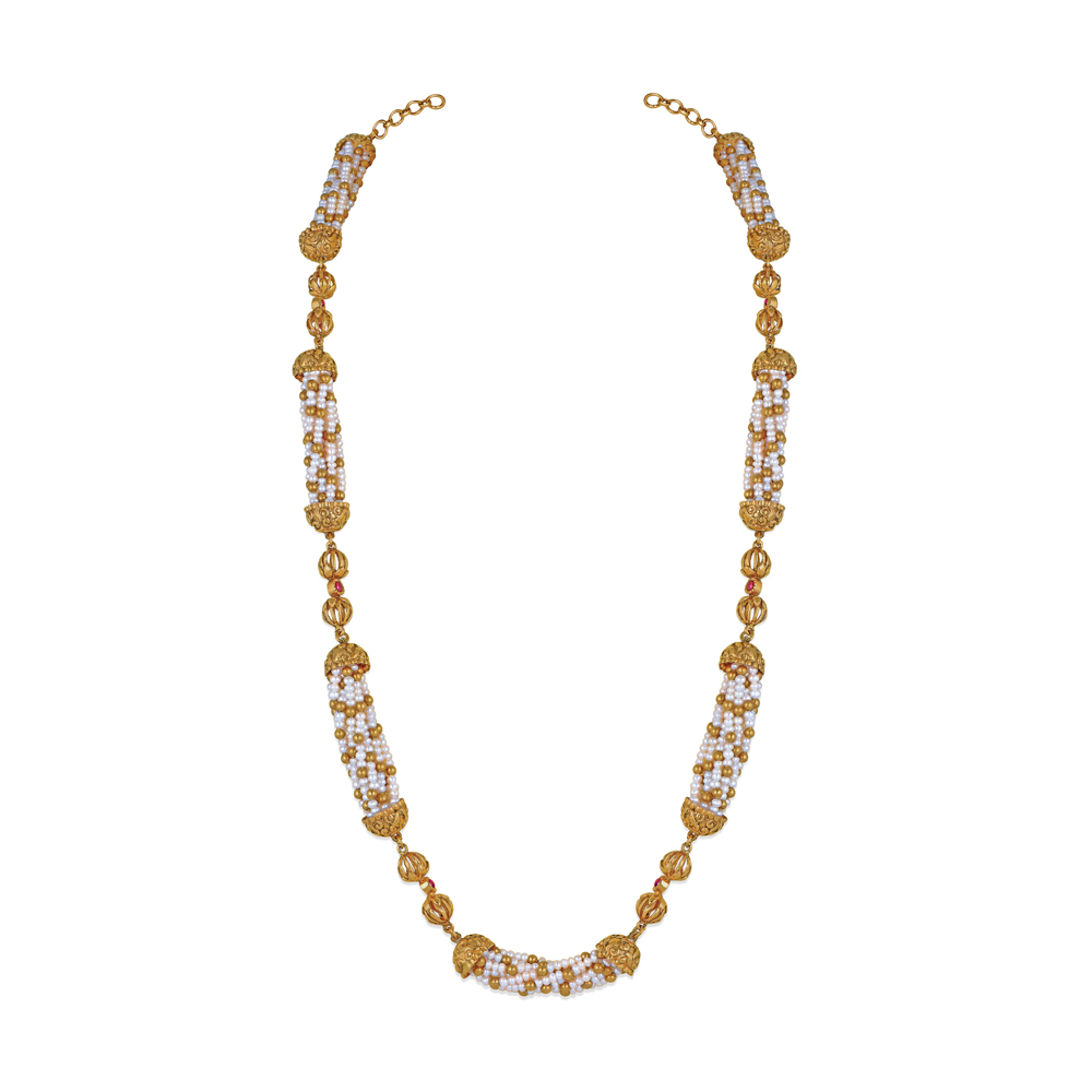 Pearl Necklace with Handcrafted Gold Beads - Necklace | Azva