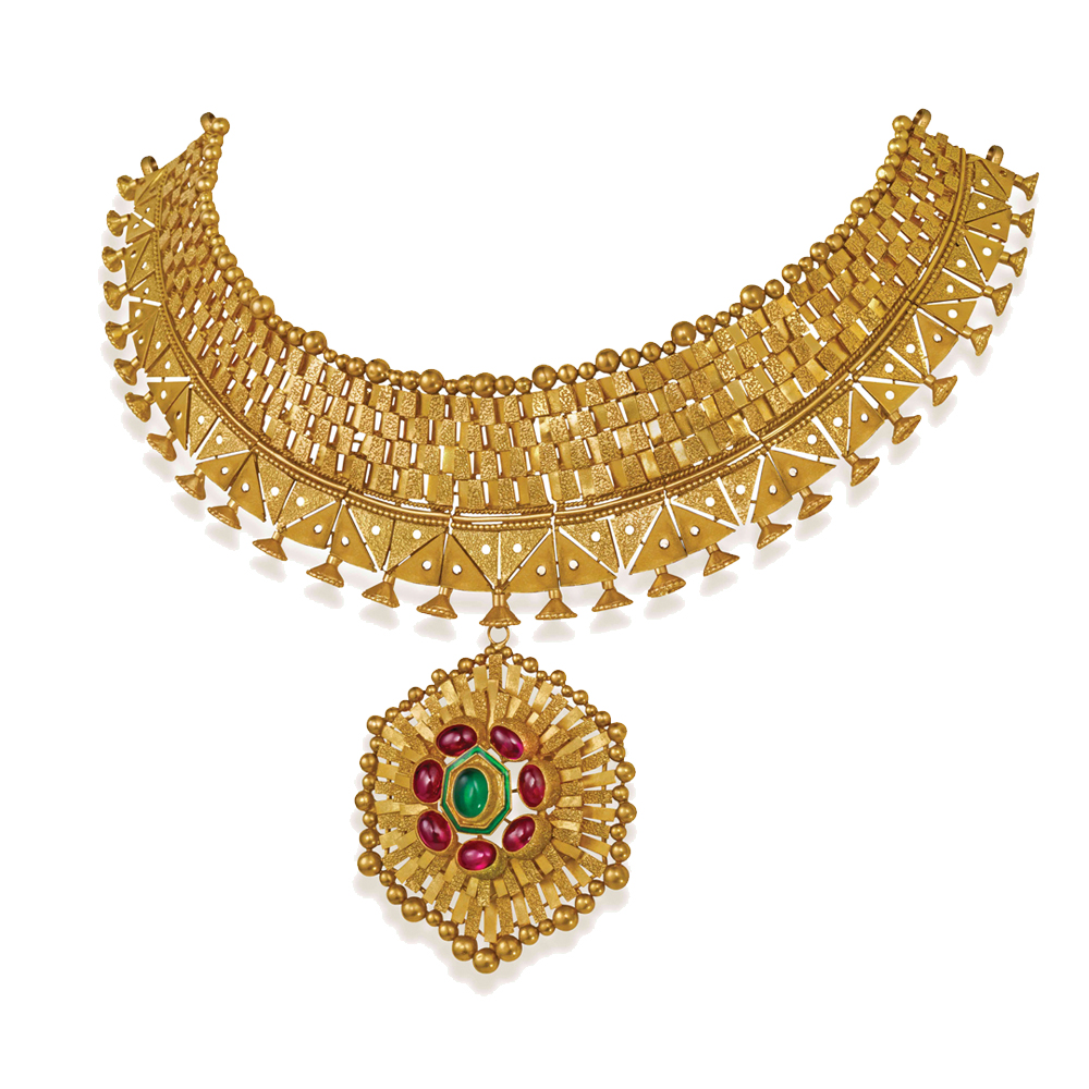22 kt Gold Choker with Virant Floral Centre - Choker | Azva