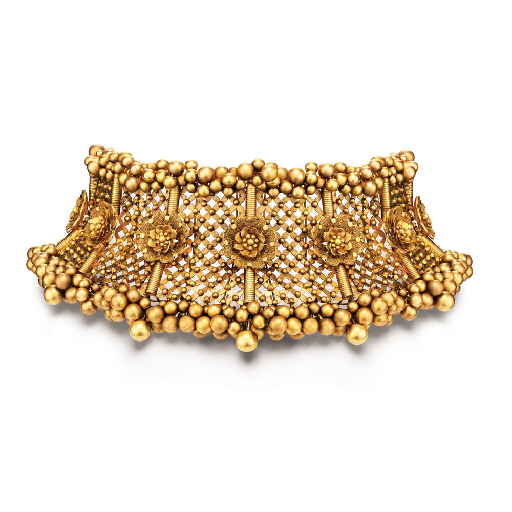 22 kt Gold Choker with Dainty Floral Lattice - Choker | Azva