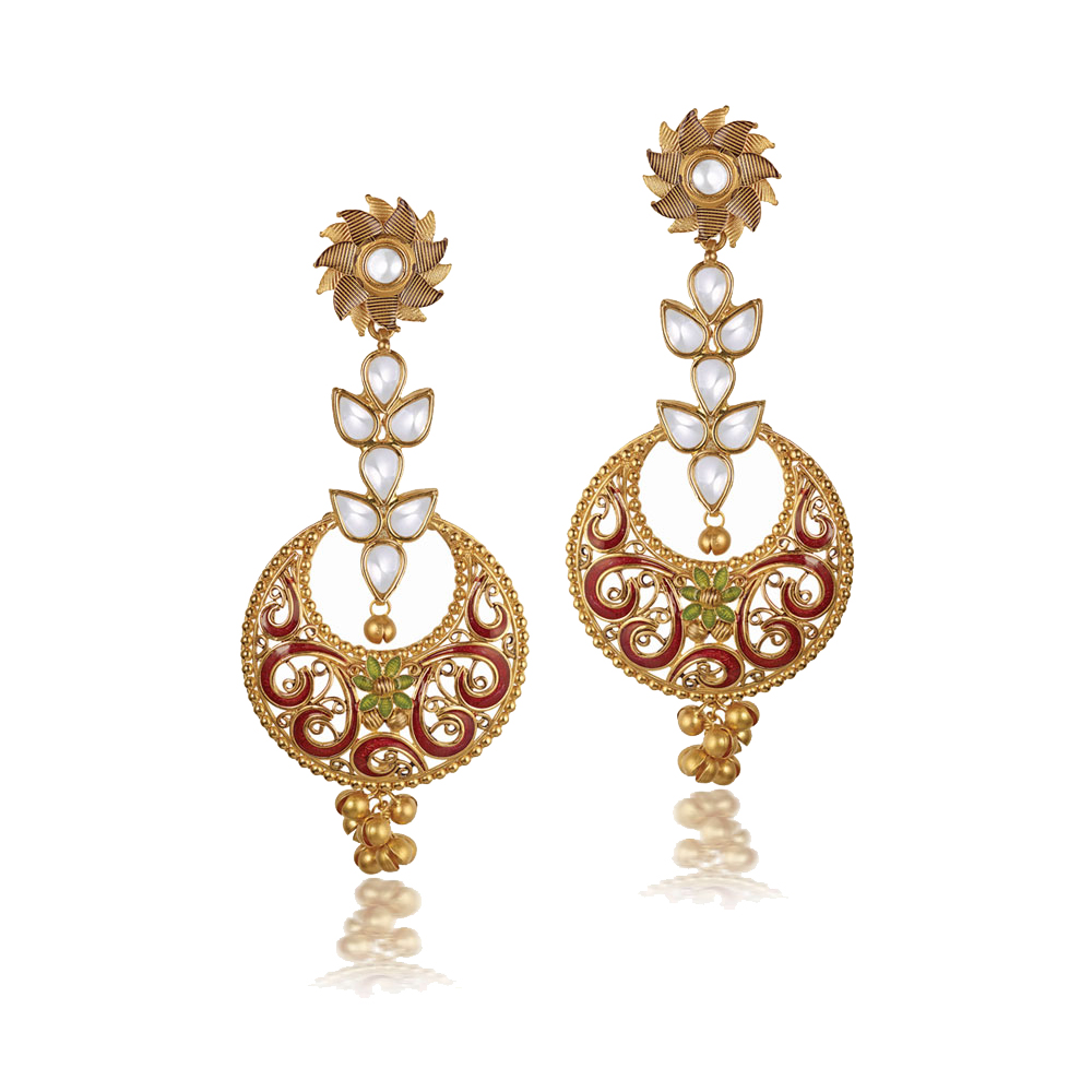 22 Kt Gold Earrings With Enamel Scrolls - Earrings | Azva