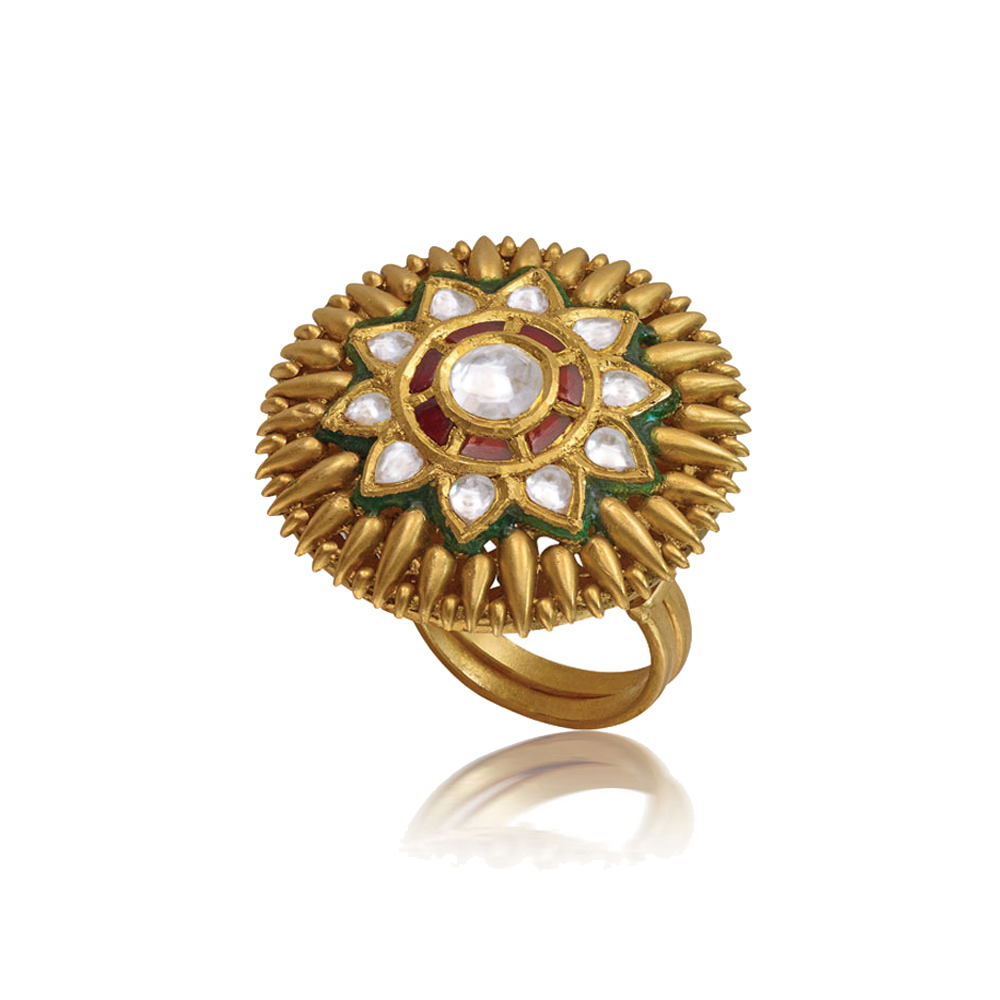 22 Kt Gold Ring With Kundan Floral Centre - Rings | Azva