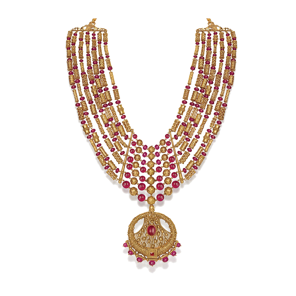 22 Kt Gold Layered Necklace with Vibrant Pink Beads - Seven Rows Haar