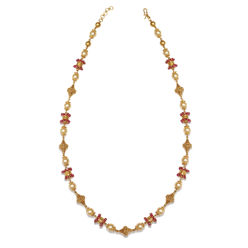 22 Kt Gold Bead Necklace with Pearls - Bead Mala | Azva