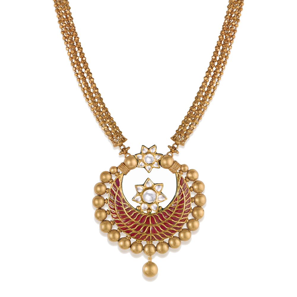 22 kt Long Gold Necklace with a Crescent of Red Stones -  Medallion sets | Azva