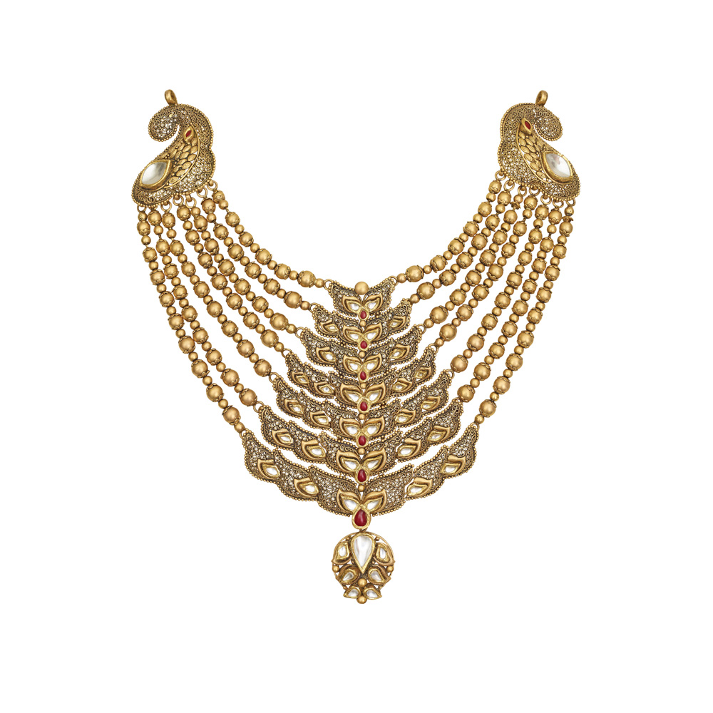 22 Kt Gold Layered Necklace with Kundan Paisleys - Seven rows haar | Azva