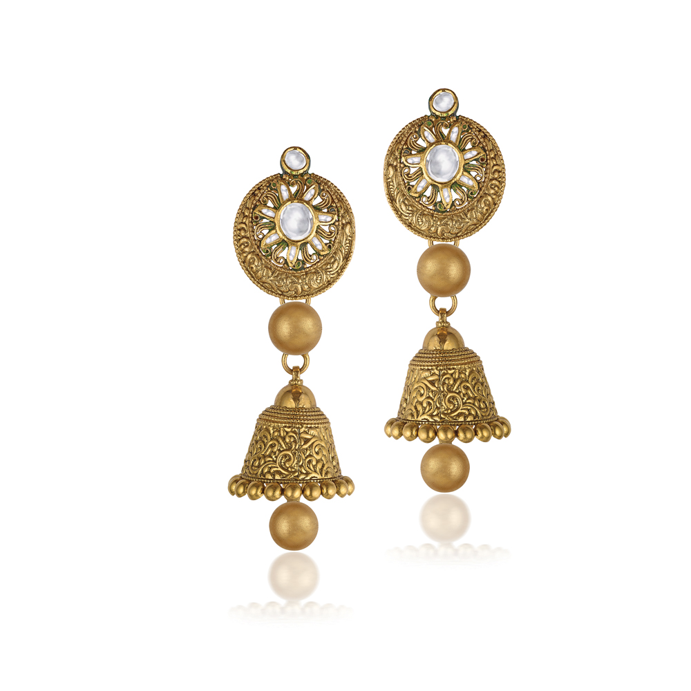 22 Kt Gold Earrings With Intricate Etching - Earrings | Azva
