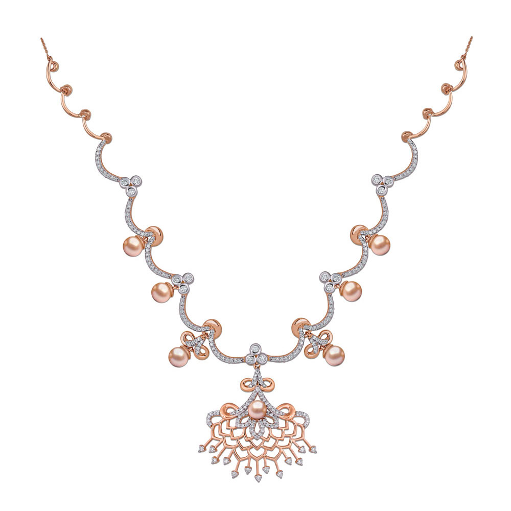 Diamond Studded Floral Necklace in Rose Gold - Necklace | Azva