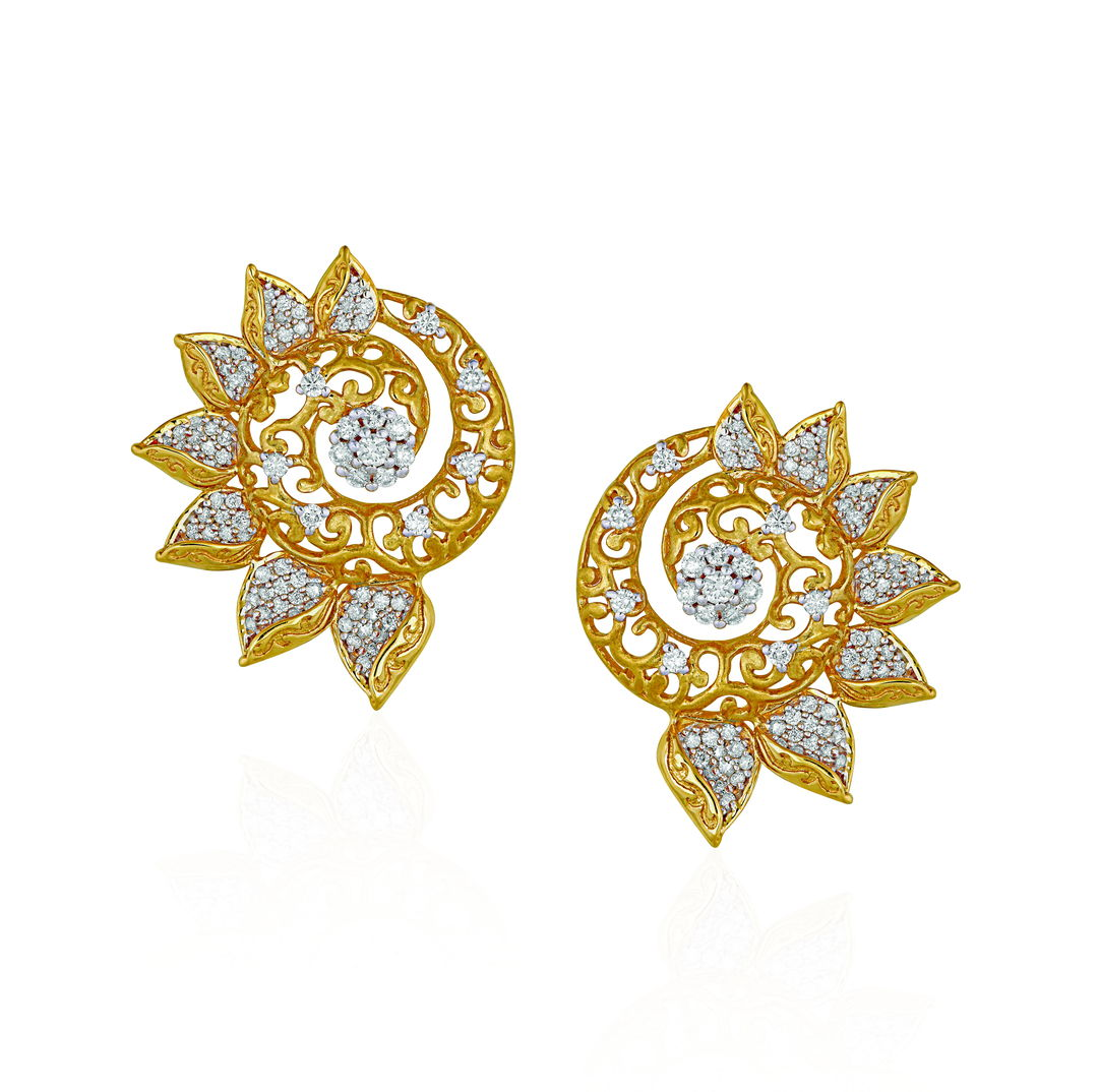 Diamond Earrings With A Modern Scroll - Earrings | Azva