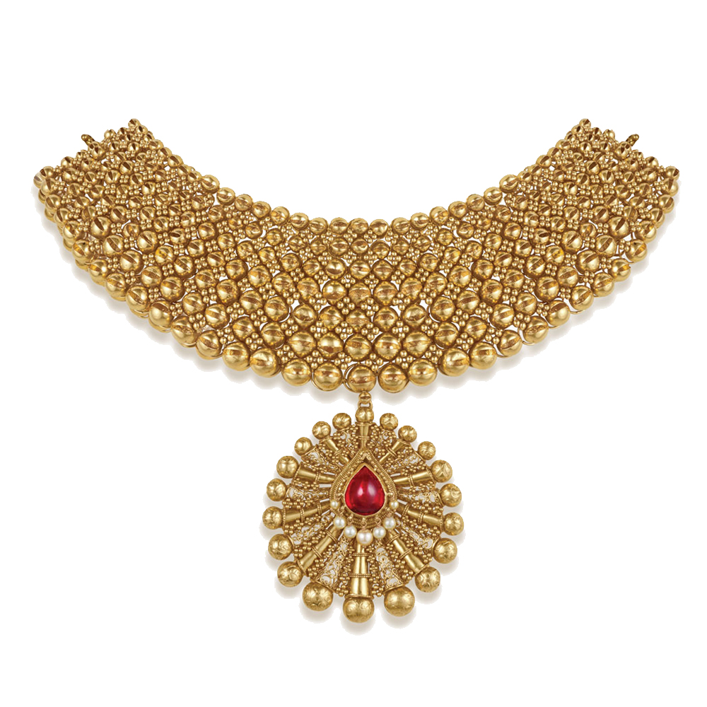 22 kt Gold Choker with Gold Granules - Choker | Azva