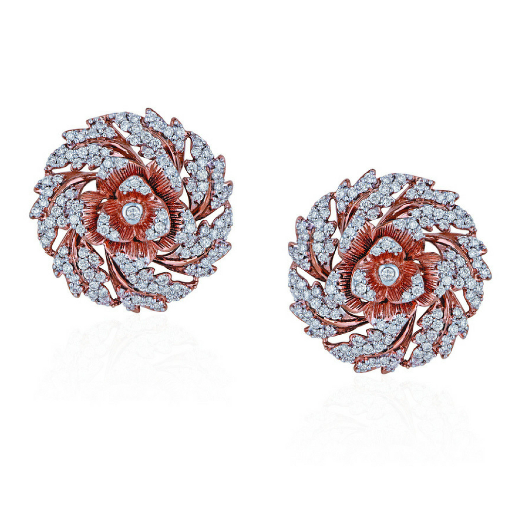Diamond floral earrings with dainty petals - Azva