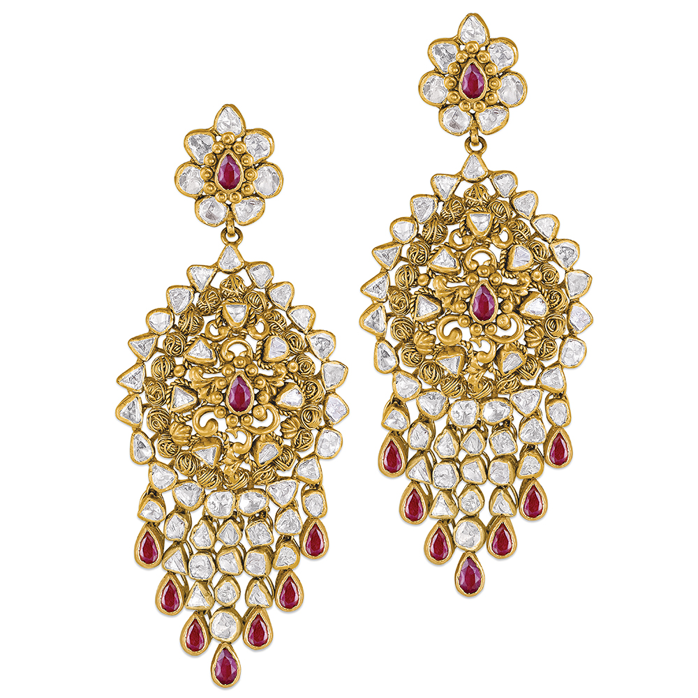 Polki Earrings With Coloured Stone Danglers - Earrings | Azva