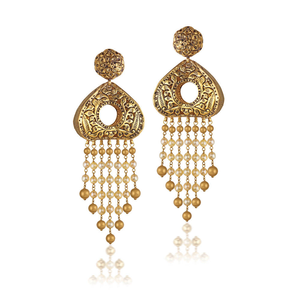 22 Kt Nakashi Gold Earrings With Pearl Tassels - Earrings | Azva