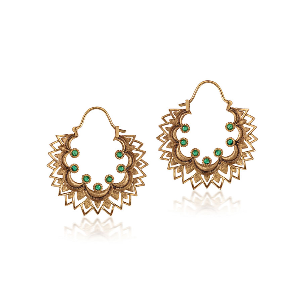 22 kt Gold Earrings with Kundan Floral - Earrings | Azva