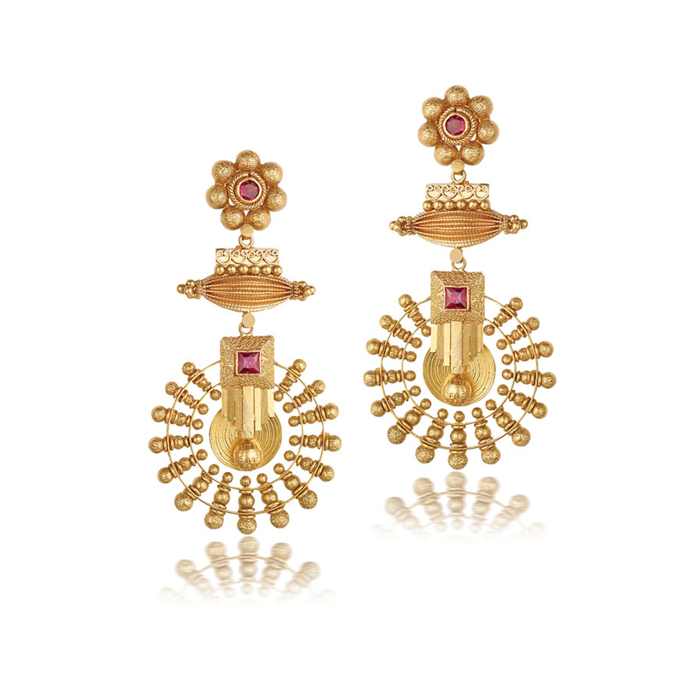 22 Kt Gold Earrings With Radiating Medallion - Earrings | Azva